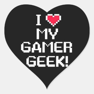 I Love My Gamer Geek Heart Sticker