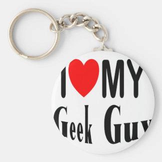 I Love My Geek Guy Basic Round Button Key Ring