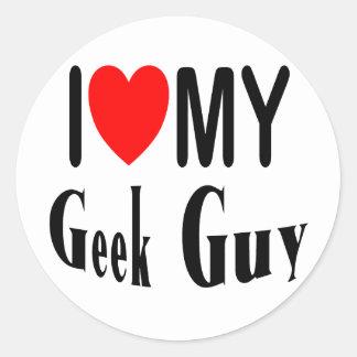 I Love My Geek Guy Round Sticker