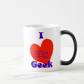 I love my geek. nerd dork joke funny humor love morphing mug