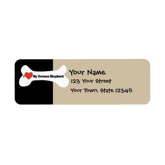 I Love My German shepherd - Dog Bone Return Address Label