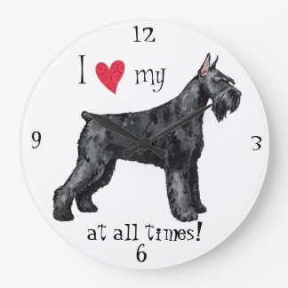 I Love my Giant Schnauzer Large Clock