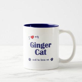 I Love My Ginger Cat (Male Cat) Two-Tone Coffee Mug