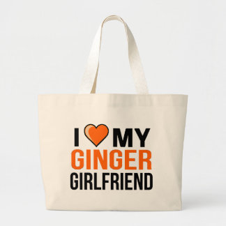 I Love My Ginger Girlfriend Large Tote Bag