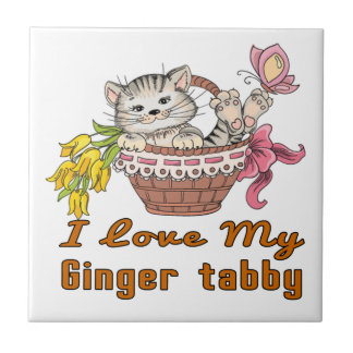 I Love My Ginger tabby Small Square Tile