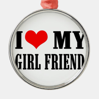 i love my girl friend Silver-Colored round decoration