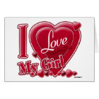 I Love My Girl red - heart Card