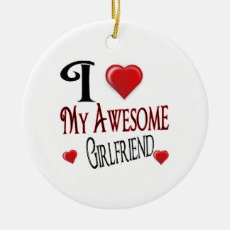 I love My Girlfriend Round Ceramic Decoration