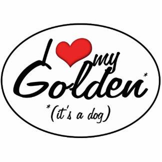 I Love My Golden (It's a Dog) Photo Sculpture Decoration