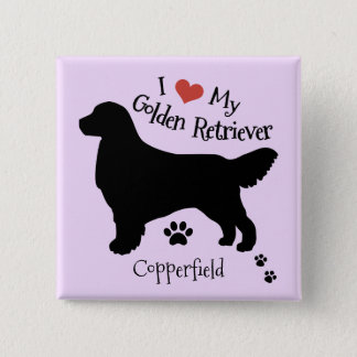 I Love My Golden Retriever Custom Name Silhouette 15 Cm Square Badge