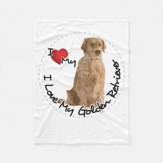 I Love My Golden Retriever Dog Fleece Blanket