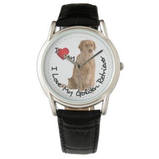 I Love My Golden Retriever Dog Wrist Watch