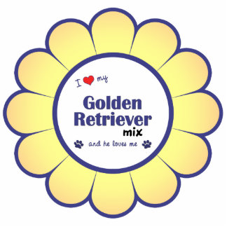 I Love My Golden Retriever Mix (Male Dog) Photo Sculpture