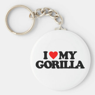 I LOVE MY GORILLA BASIC ROUND BUTTON KEY RING