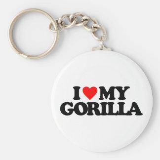 I LOVE MY GORILLA BASIC ROUND BUTTON KEY RING