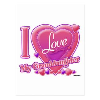 I Love My Granddaughter pink/purple - heart Postcard