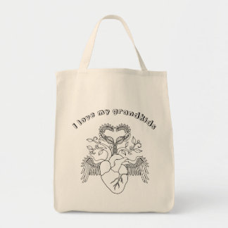 I love my grandkids heart Angel wings line art Tote Bag