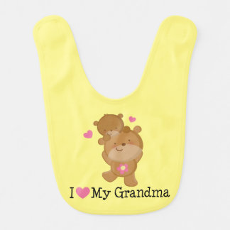I Love My Grandma Bear Baby Bib