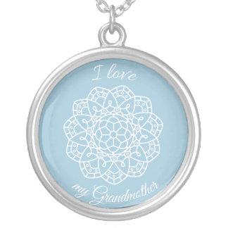 """"""" I love my Grandmother"""" Floral Design Necklace"""