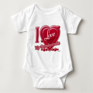 I Love My Grandparents red heart - photo Baby Bodysuit