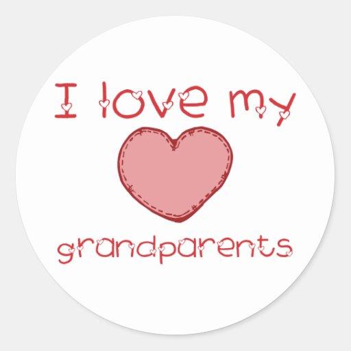 I love my grandparents round stickers