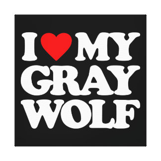 I LOVE MY GRAY WOLF STRETCHED CANVAS PRINTS