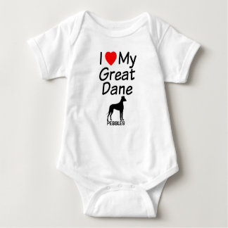 I Love My Great Dane Dog Baby Bodysuit