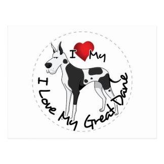 I Love My Great Dane Dog Postcard
