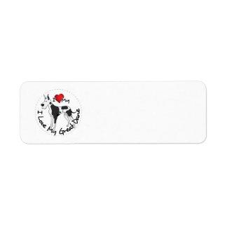 I Love My Great Dane Dog Return Address Label
