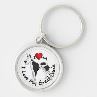 I Love My Great Dane Dog Silver-Colored Round Key Ring