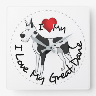 I Love My Great Dane Dog Square Wall Clock