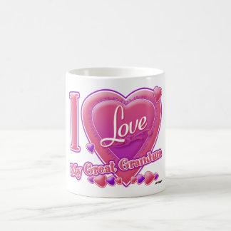 I Love My Great Grandma pink/purple - heart Coffee Mug