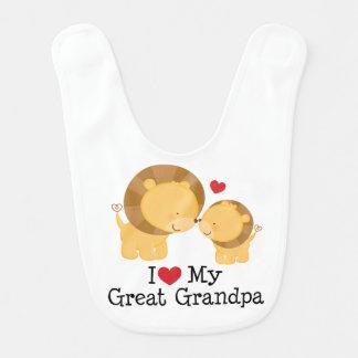 I Love My Great Grandpa Baby Bib Gift