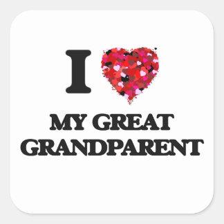 I Love My Great Grandparent Square Sticker