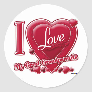 I Love My Great Grandparents red - heart Round Sticker