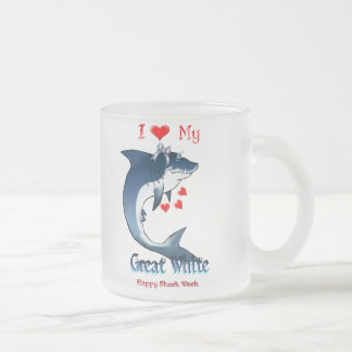 I Love My GREAT WHITE Shark Shirts Frosted Glass Coffee Mug