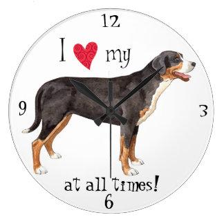 I Love my Greater Swiss Mountain Dog Clocks