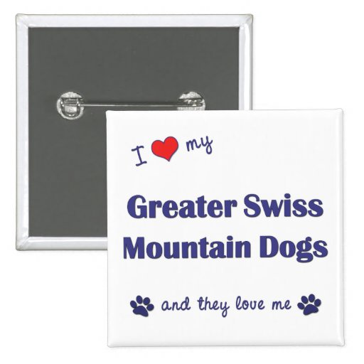 I Love My Greater Swiss Mountain Dogs (Multi Dogs) Buttons