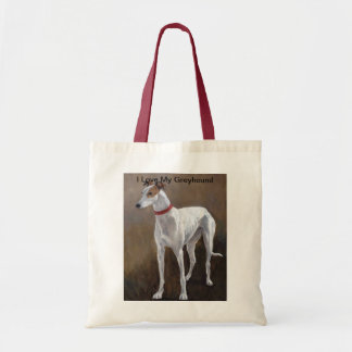 I Love My Greyhound Dog Art Tote Bag