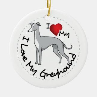 I Love My Greyhound Dog Ceramic Ornament