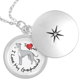 I Love My Greyhound Dog Locket Necklace