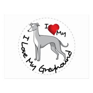 I Love My Greyhound Dog Postcard