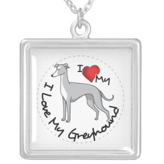 I Love My Greyhound Dog Silver Plated Necklace