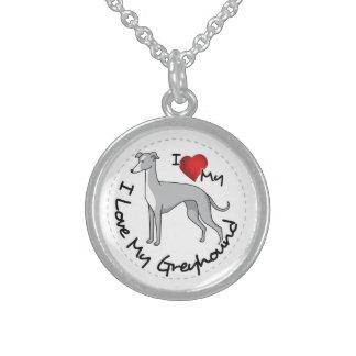 I Love My Greyhound Dog Sterling Silver Necklace