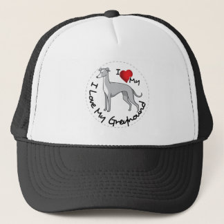 I Love My Greyhound Dog Trucker Hat