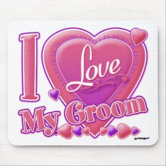 I Love My Groom pink/purple - heart Mouse Pad