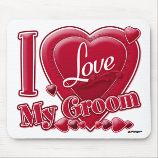 I Love My Groom red - heart Mouse Pads