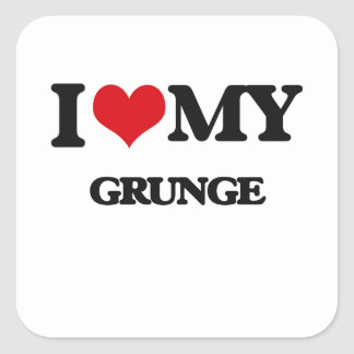 I Love My GRUNGE Square Stickers
