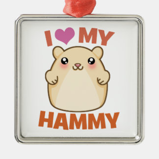 I Love My Hammy Hamster Holiday Ornament