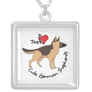 I Love My Happy Adorable & Cute German Shepherd Silver Plated Necklace
